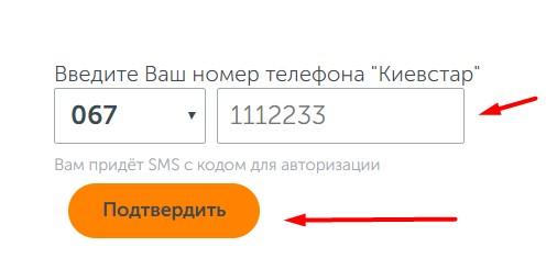 Поля для ввода номера на официальном сайте Киевстара