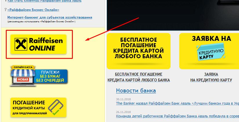 Кнопка «Райффайзен онлайн»